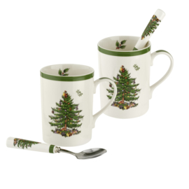 Set 2 Mokken & Lepels - Spode Christmas Tree