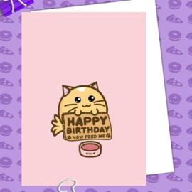 Kaart 'Happy Birthday Now Feed Me' - Fuzzballs