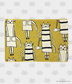 Hand- / Theedoek / Placemat Cat in New York Yellow (50 cm.) - Atsuko Matano