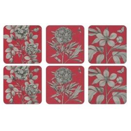 Onderzetters (6) - Pimpernel Etchings & Roses Red