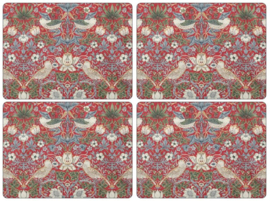 4 Placemats - Pimpernel Morris & Co Strawberry Thief Red