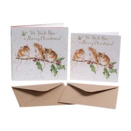 Set 8 Kerstkaarten 'Christmas Mice' - Wrendale Designs
