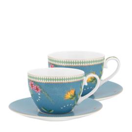 Cadeauset 2 Kop & Schotels Blue (280 ml.) - Pip Studio La Majorelle