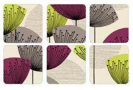 6 Onderzetters - Pimpernel Dandelion Clocks