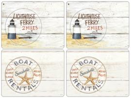 4 Placemats (40,1 cm.) - Pimpernel Coastal Signs