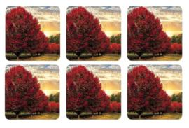 Onderzetters (6) - Pimpernel Crimson Trees