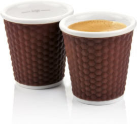 Set 2 Espressobekertjes Honeycomb Brown (10 cl.) - Les Artistes