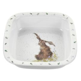 Vierkante Schaal Hare (25,5 cm.) - Wrendale Designs
