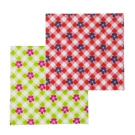 6 Aanrechtdoekjes Gingham & Flower Rood/Groen - Rice