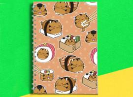 A5 Notitieboekje 'Tiger Cat Sushi' - Fuzzballs
