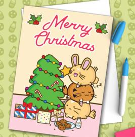 Kaart 'Merry Christmas' Xmas Tree Star - Fuzzballs