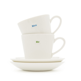 Set Espressokop & Schotels Mrs/Mr (70 ml.) - MAKE International