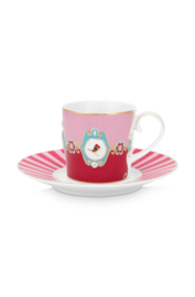 Kop & Schotel Medallion Red Pink (200 ml.) - Pip Studio Love Birds