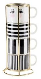 Houder met 4 Espressomokjes Black Stripes - Miss Étoile