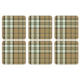 Onderzetters (6) - Pimpernel Tartan Green