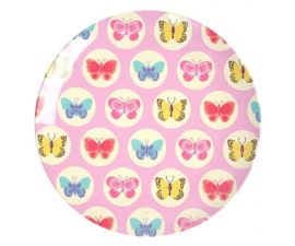 Bord Melamine Happy Butterflies Pink (20,5 cm.) - Ginger