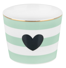 Ceramic Pot Heart Stripes Green - Miss Étoile