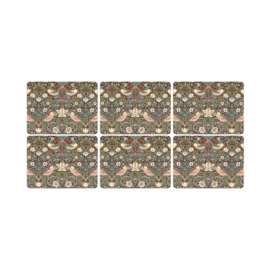 6 Placemats (30,5 cm.) - Morris & Co Strawberry Thief Brown