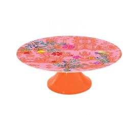 Taartplateau Melamine My Secret Garden Toile Pink (28 cm.) - Ginger