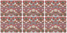 6 Placemats (30,5 cm.) - Morris & Co Strawberry Thief Red