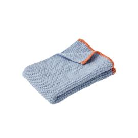 Gebreide Hand- of Theedoek Blue/Orange (60 cm.) - Hübsch