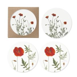 Set 4 Onderzetters Poppy (9 cm.) - Koustrup & Co.