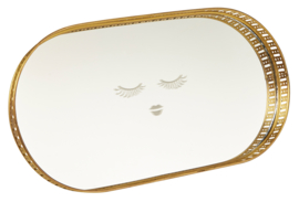 Dienblad met Spiegel Closed Eyes Gold (29 cm.) - Miss Étoile