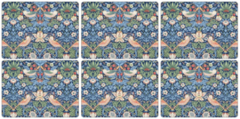 6 Placemats (30,5 cm.) - Morris & Co Strawberry Thief Blue