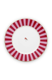 Dinerbord Red Pink Stripes (27 cm.) - Pip Studio Love Birds