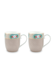 Set 2 Mokken Blushing Birds Khaki (145 ml.) - Pip Studio