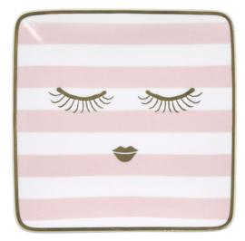 Vierkant Bordje Stripes & Eyes Pink (12 cm.) - Miss Étoile