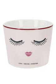 Ceramic Pot Closed Eyes Pink - Miss Étoile