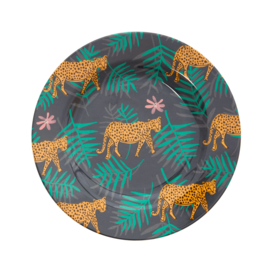 Melamine Bord Leopard & Leaves (20 cm.) - Rice