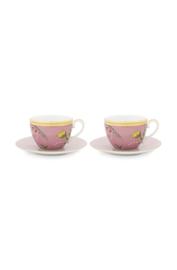 Cadeauset 2 Kop & Schotels Pink (280 ml.) - Pip Studio La Majorelle