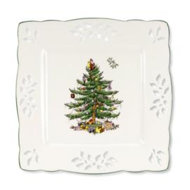 Opengewerkt Vierkant Bord (20,5 cm.) - Spode Christmas Tree