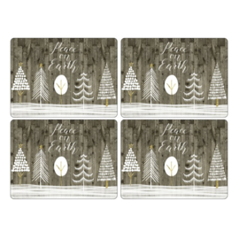 4 Placemats (40,1 cm.) - Pimpernel Wooden White Christmas