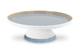 Taartplateau Blue Khaki Stripes (23,7 cm.) - Pip Studio Love Birds