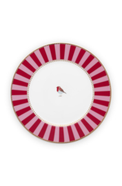 Gebaksbord Red Pink Stripes (17 cm.) - Pip Studio Love Birds