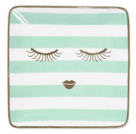 Vierkant Bordje Stripes & Eyes Mint (12 cm.) - Miss Étoile