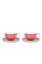 Cadeauset 2 Espressokop & Schotels Royal Pink (125 ml.) - Pip Studio