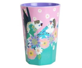 Beker Melamine Singing Birds Budgies Pink (400 ml.) - Ginger