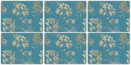 6 Placemats (30,5 cm.) - Pimpernel Sanderson Etchings & Roses Blue