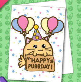 Kaart 'Happy Purrday' - Fuzzballs