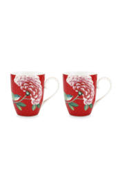 Set 2 Mokken Blushing Birds Red (350 ml.) - Pip Studio