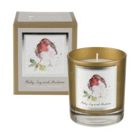 Geurkaars in Glas Holly, Ivy & Mistletoe - Wrendale Designs