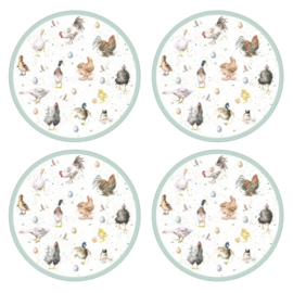 4 Ronde Placemats (31 cm.) - Pimpernel Wrendale Farmyard Feathers
