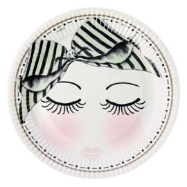 8 Papieren Borden Eyes & Dots (17,5 cm.) - Miss Étoile