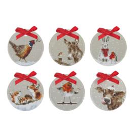 Set 6 Kerstdecoraties Grey - Wrendale Designs