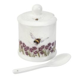 Confiturepot met Lepel Bumble Bee (0,11 l.) - Wrendale Designs