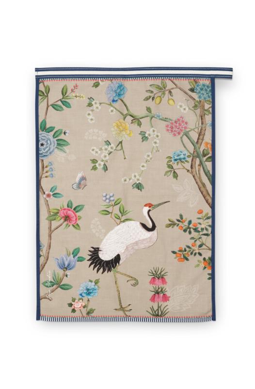 Theedoek Blushing Birds All Over Khaki - Pip Studio
